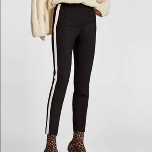 Zara NWT tuxedo stripe skinny dress pants, Large
